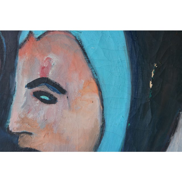 1960's Oil on Canvas Portrait Painting by Eb Rosen - Image 5 of 8