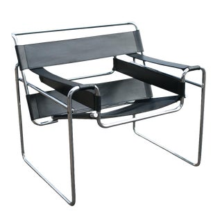 Vintage Wassily Marcel Breuer Black Leather Chair