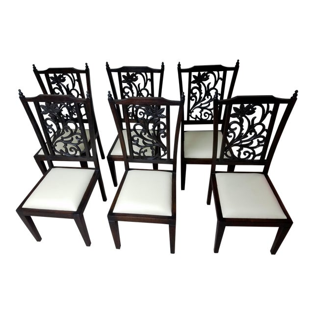 Teak Wood Carved Back Dining Chairs - Set of 6 - Image 1 of 5