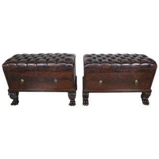 English Leather Tufted Benches/Chests on Paw Feet - a Pair