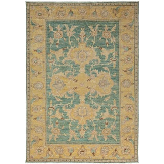 """Ziegler, Hand Knotted Transitional Green Wool Area Rug - 6' 3"""" X 8' 10"""""""
