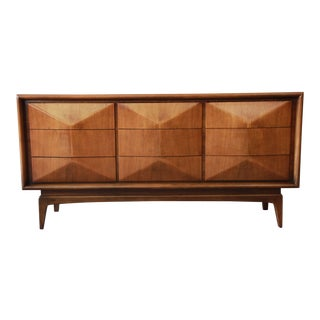 Vladimir Kagan Style Diamond Front Walnut Long Dresser by United