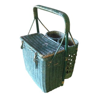 Vintage Green Wicker Picnic Basket