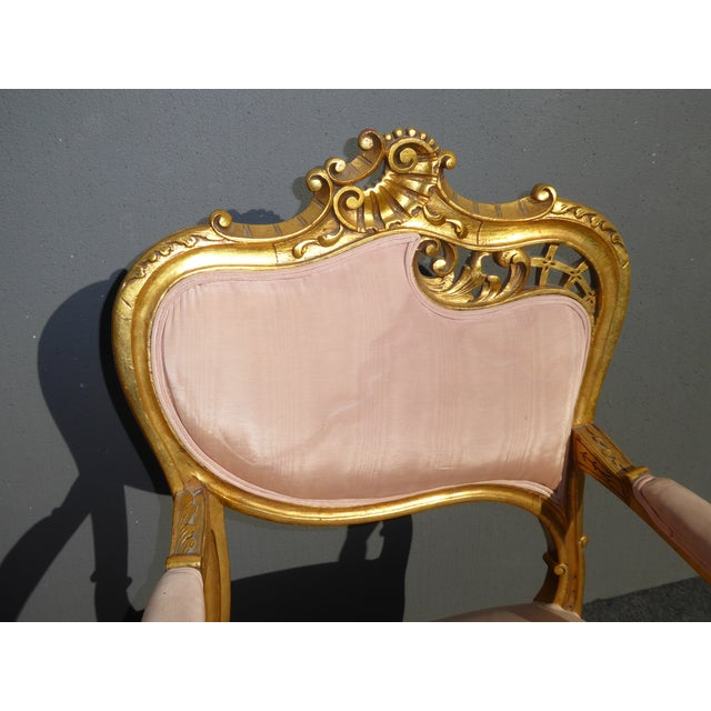 Vintage French Rococo/Louis XV Style Giltwood Accent Chairs- A Pair - Image 6 of 11