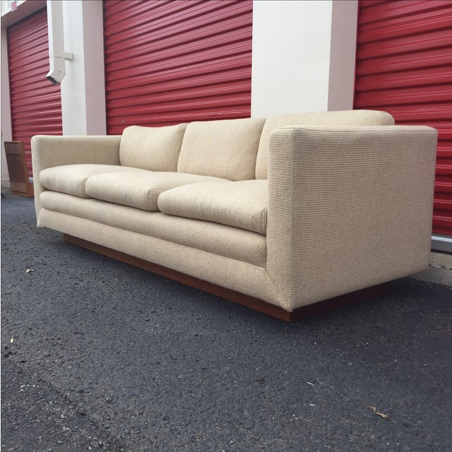 Mid Century Cream Sofa on Wood by Gunlocke Company - Image 3 of 10