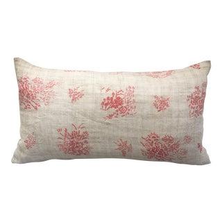 Hand Blocked Antique Chinese Linen Pillow