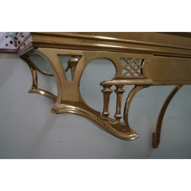 Vintage Brass & Glass Wall Shelf - Image 4 of 10