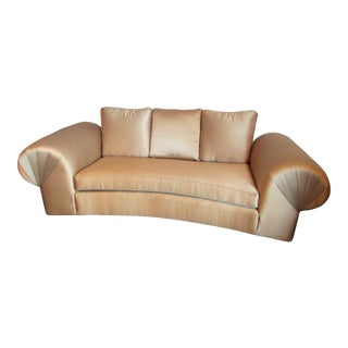 Newly Upholstered Sateen Gold Settee
