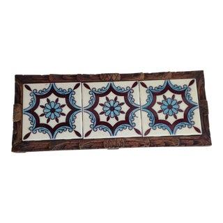 Mid-Century Spanish Tile & Wood Tray