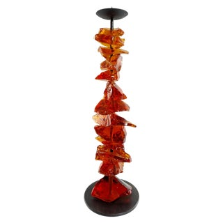 Murano Amber Glass Candlestick