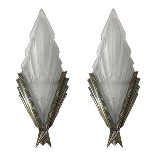 Pair of French Art Deco Wall Sconces Signed by Degue