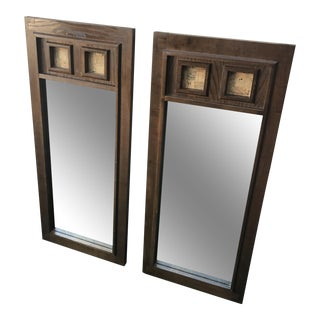 Vintage Walnut Semi Brutalist Mirrors - A Pair