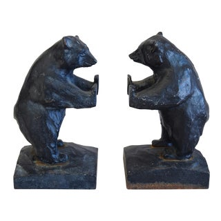Mid-Century Cast Iron Bear Bookends - A Pair