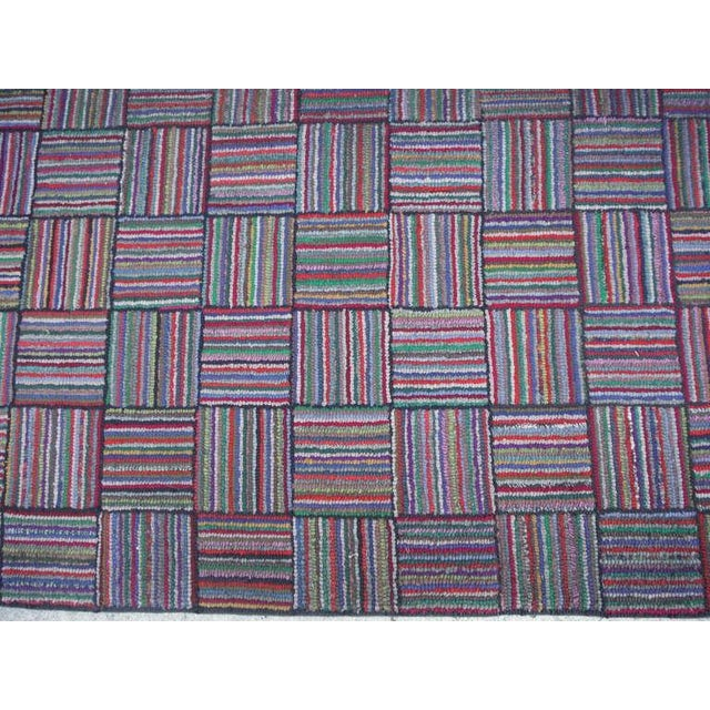Amazing Long Hand-Hooked Runner Rug in Log Cabin Pattern # 2 - Image 4 of 5