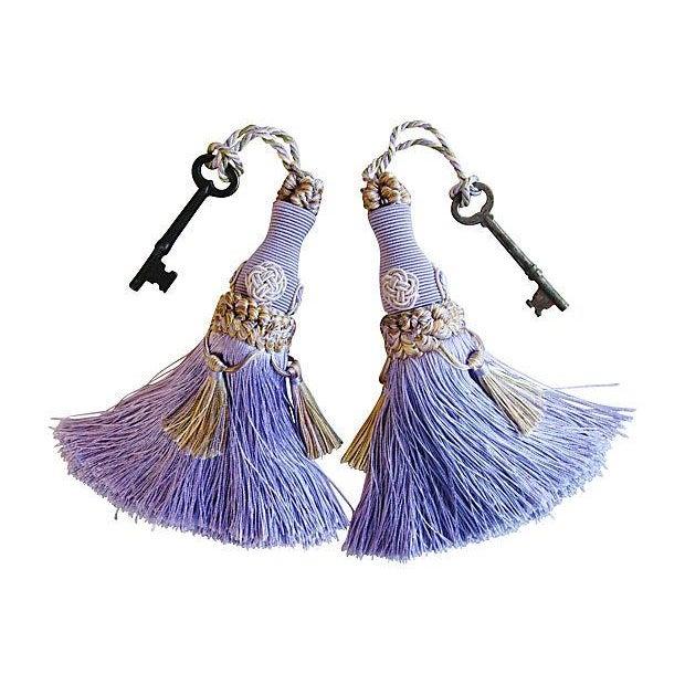 Image of Antique Skeleton Keys W/ Periwinkle Tassels - Pair