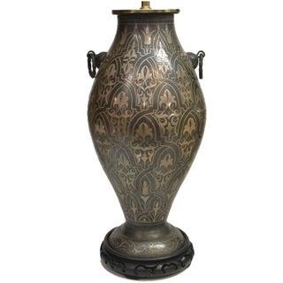 Large Damascene Silver-Inlaid Table Lamp