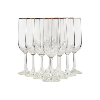 French SIlver-Rim Tall Water Stems - Set of 6
