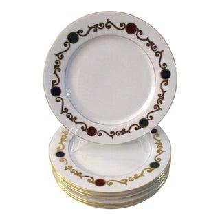 Modern French White & Gold Dinner Plates - Set of 8