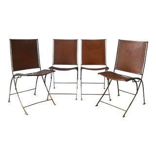 Leather & Iron Folding Chairs - Set of 4