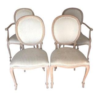 "Vintage Carved ""Rope & Tassel"" Dining Chairs - Set of 4"
