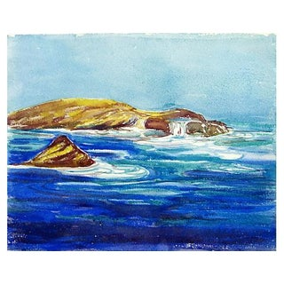 Bright Seascape Watercolor Painting