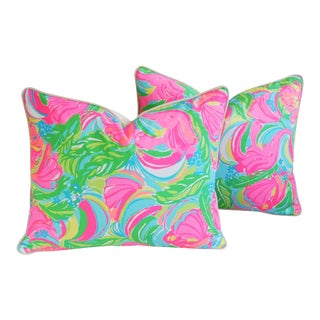 "22"" X 18"" Lilly Pulitzer-Inspired/Style Tropical Monkeys & Elephants Pillows - Pair"