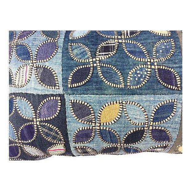 Tribal Indigo Patchwork Quilt Pillow - Image 3 of 5