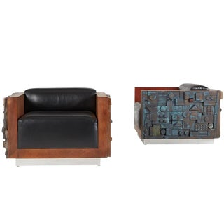 Handcrafted Brutalist Club Lounge Chairs, Custom Limited Edition - A Pair