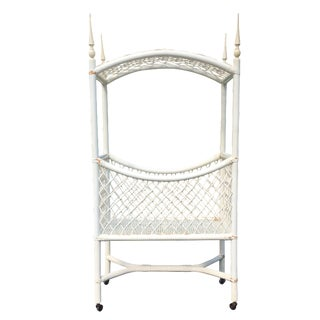White Wicker Canopy Crib