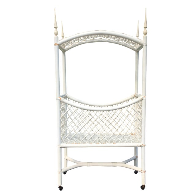 White Wicker Canopy Crib - Image 1 of 8