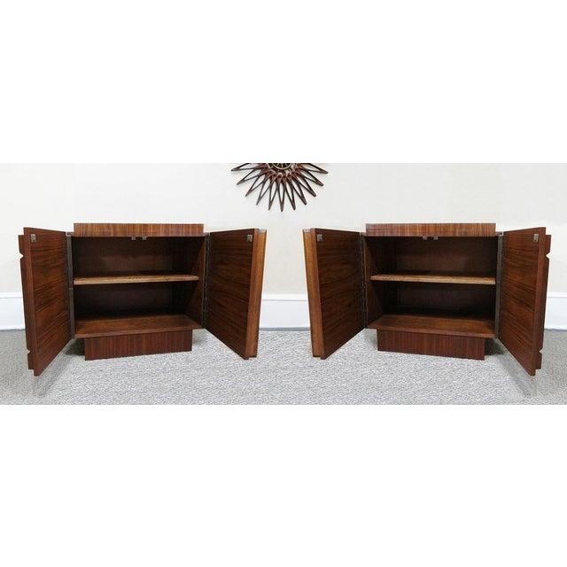Mid-Century Lane Brutalist Style Walnut Nightstands - A Pair - Image 4 of 4