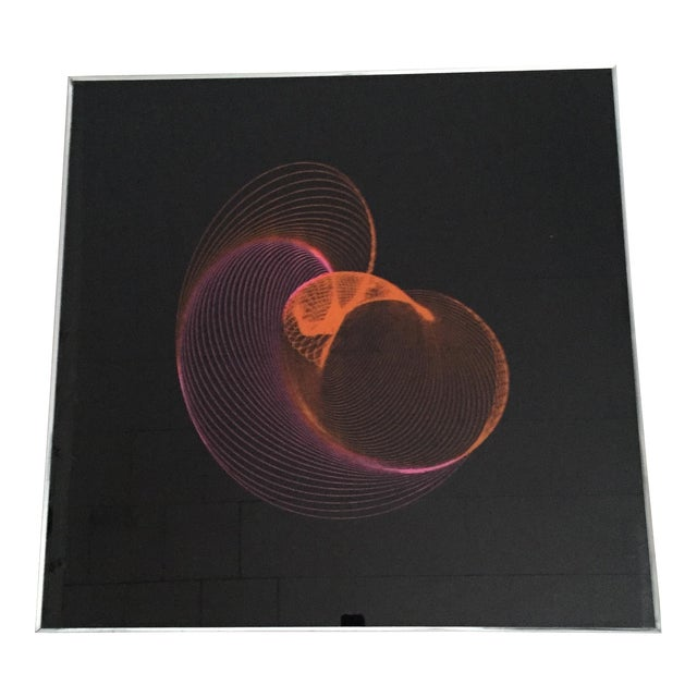 Extra Large Mid-Century Op Art Abstract Spirograph Kidney Bean Framed Graphic Art - Image 1 of 11