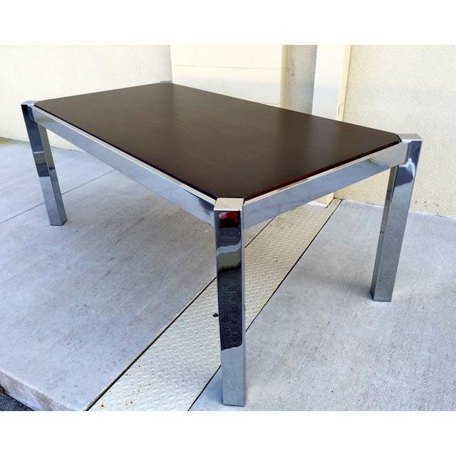 Milo Baughman DIA Wood & Chrome Dining Table - Image 3 of 8