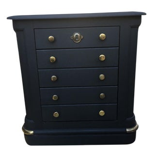 National Mount Airy Black & Gold Beadboard Nightstand