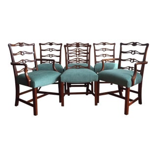 Carved Ladder Back Chairs - Set of 6