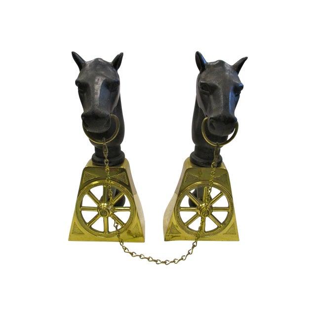 Image of Cast Iron & Brass Horse Andirons - Pair
