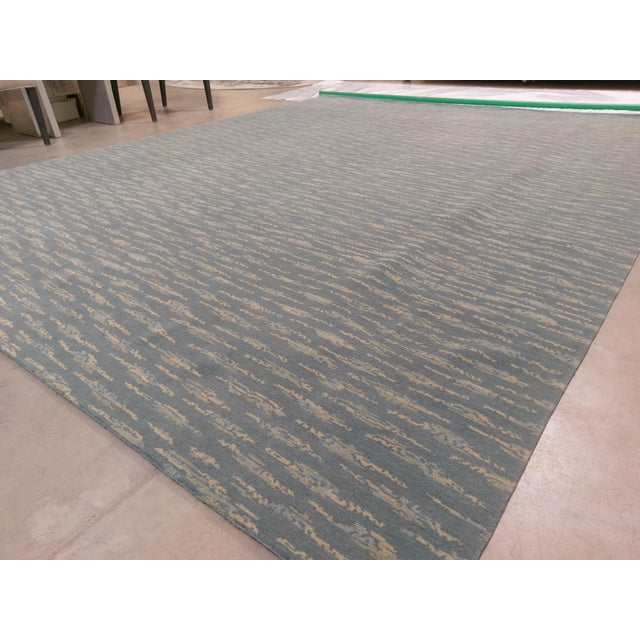 Hand Knotted Teal Contemporary Wool Rug - 9′10″ × 12′ - Image 4 of 5
