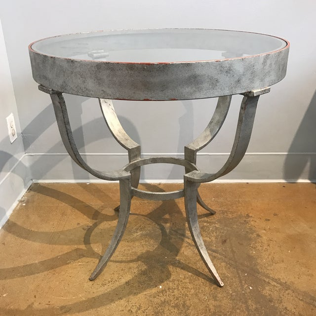 Aluminum glass top occasional table chairish for Glass top occasional tables