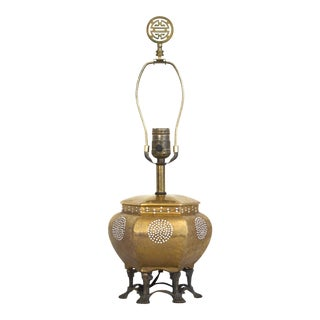 Gold Asian Chinoiserie Moriage Table Lamp