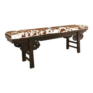 Vintage Chinese Cowhide Upholstered Double Side Carved Bench