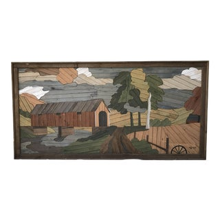 Extra Large Signed Rustic Lath Art by Degroot