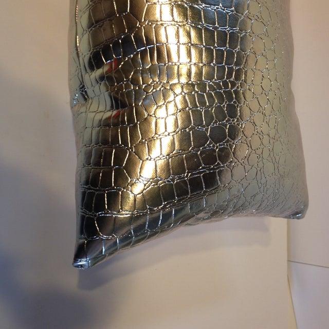 Image of Handmade Metallic Croc Lumbar Pillows - A Pair