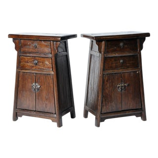 Pair of Chinese Bed Side Chests with Restoration