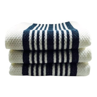 White & Blue Kitchen Hand Towels - Set of 3