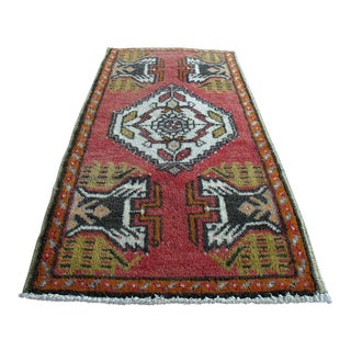 Vintage Pink Turkish Rug - 1′10″ × 3′5″