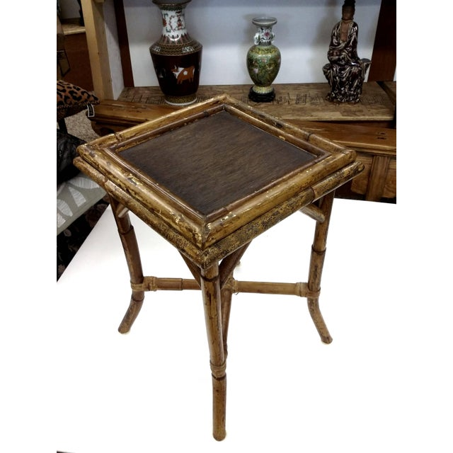 Image of Victorian Tortoise Shell Bamboo Woven Cane Table