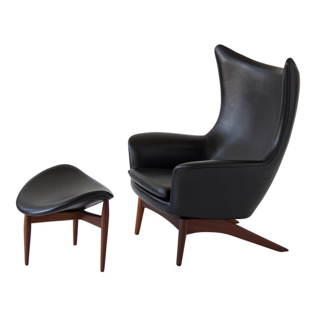 H.W. Klein Leather Reclining Lounge with Ottoman - Image 1 of 11
