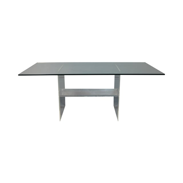 Image of Lucite Base & Glass Top Dining Table
