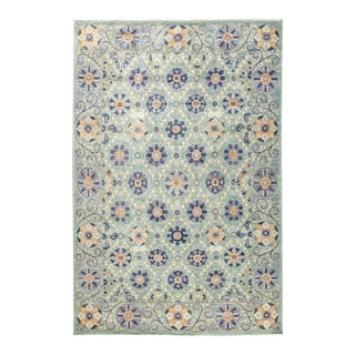 """Suzani Style Blue & Purple Hand-Knotted Rug- 6' 2"""" x 9' 3"""""""