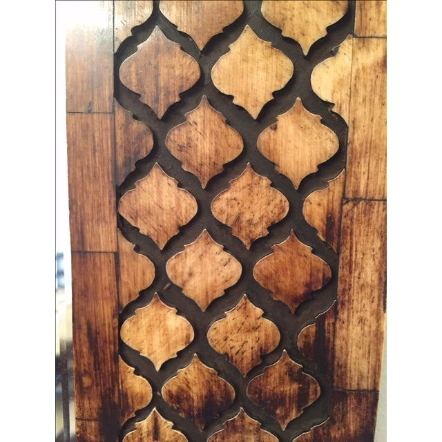 Moroccan Lattice Trellis Bone & Wood Wall Mirror - Image 2 of 4